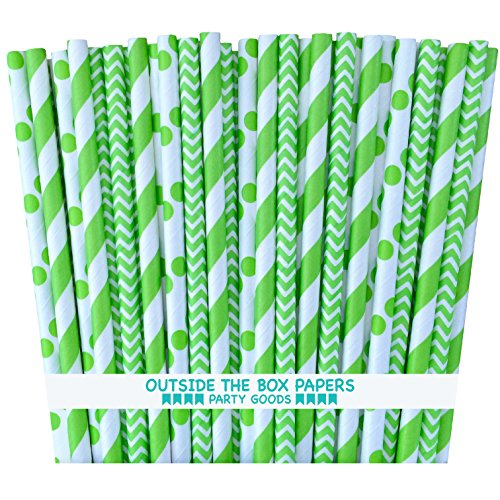 Outside the Box Papers Lime Green Stripe, Chevron and Polka Dot Paper Straws 7.75 Inches 75 Pack Lime Green, White (Paper Lime Straws Green)
