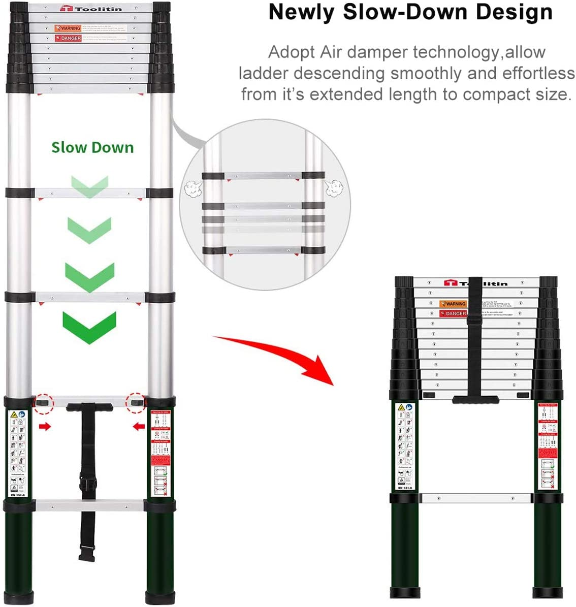 TOOLITIN Telescoping Ladder, 12.5 FT One Button Retraction Aluminum Telescopic Extension Ladder, Slow Down Design Extendable Ladders Portable Best for Household Daily or RV Work, 330 Pound Capacity… - -