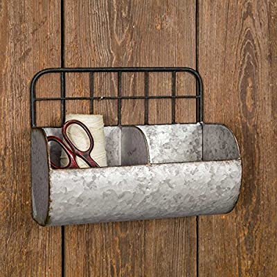 Industrial Farmhouse Chic Small Divided Wire Back Wall Bin/Shelf - Wall Caddy Divided into Two Sections Hangs from the Grid in the Back - wall-shelves, living-room-furniture, living-room - 61Fpe97oZiL. SS400  -