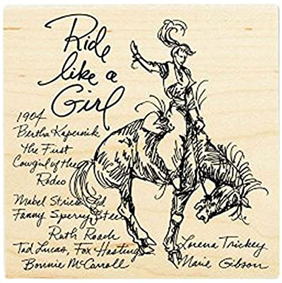 """{Single Count} Unique & Custom (4"""" Inches) """"Rodeo Cowgirl Ride Like A Girl Quote"""" Square Shaped Genuine Wood Mounted Rubber Inking Stamp"""