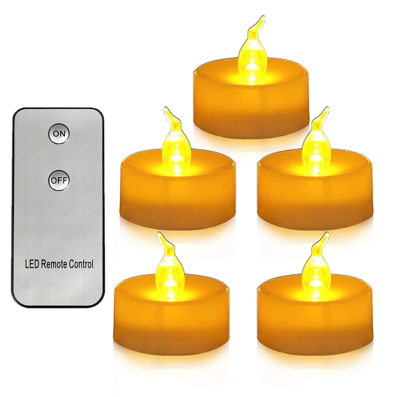 Youngerbaby 12pcs Yellow Flameless Led Tea Lights Candle with Remote Control Flickering Realistic Flicker Battery Operated Tea Light Candles for Wedding, Party, Christmas, Thanksgiving,Home Decor