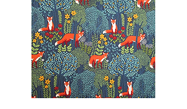 Yardage Gray Orange Green Turquoise Yellow Fox Woodland Forest Quilter/'s Weight Cotton Print Fabric Fabric by the Yard Material