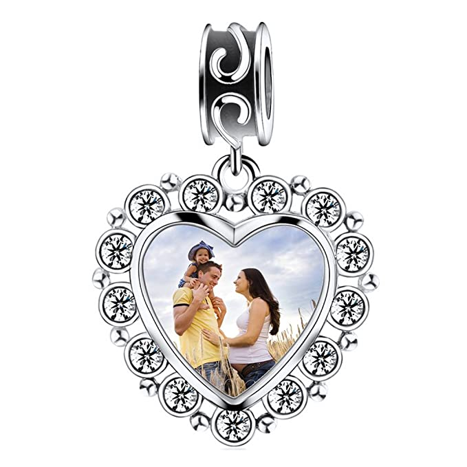 d8786641a Amazon.com: Personalized Keepsake Charms Gift-925 Sterling Silver Heart  Shaped Photo Charms Beads Custom Your Own Picture Hanging Pendant Fits  Pandora ...