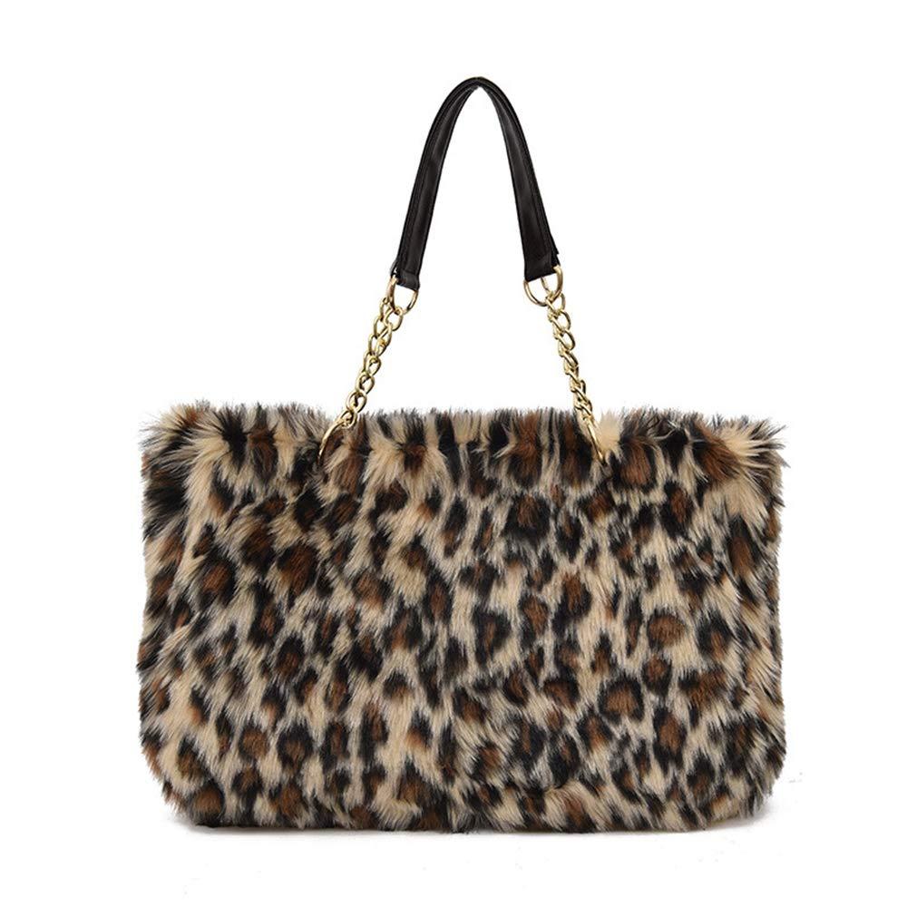 Yu He Womens' Faux fur Messenger Crossbody Shoulder Bag Satchel Tote Handbag Leopard