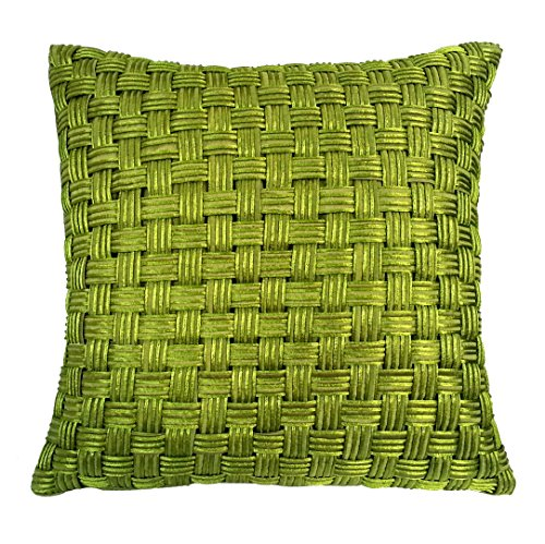 Green Basketweave (R&M Industries dba Edie 1854A Basketweave Decorative Toss Pillow, Lime, Medium)
