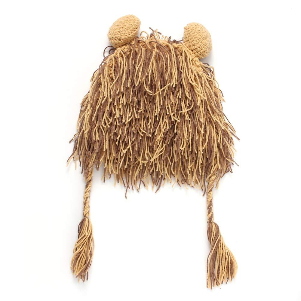 xiaojian& Cappello Creativo Autunno e Inverno Manuale Maglieria di Lana Parrucca Hip Hop Testa di Leone Beanie, Marrone