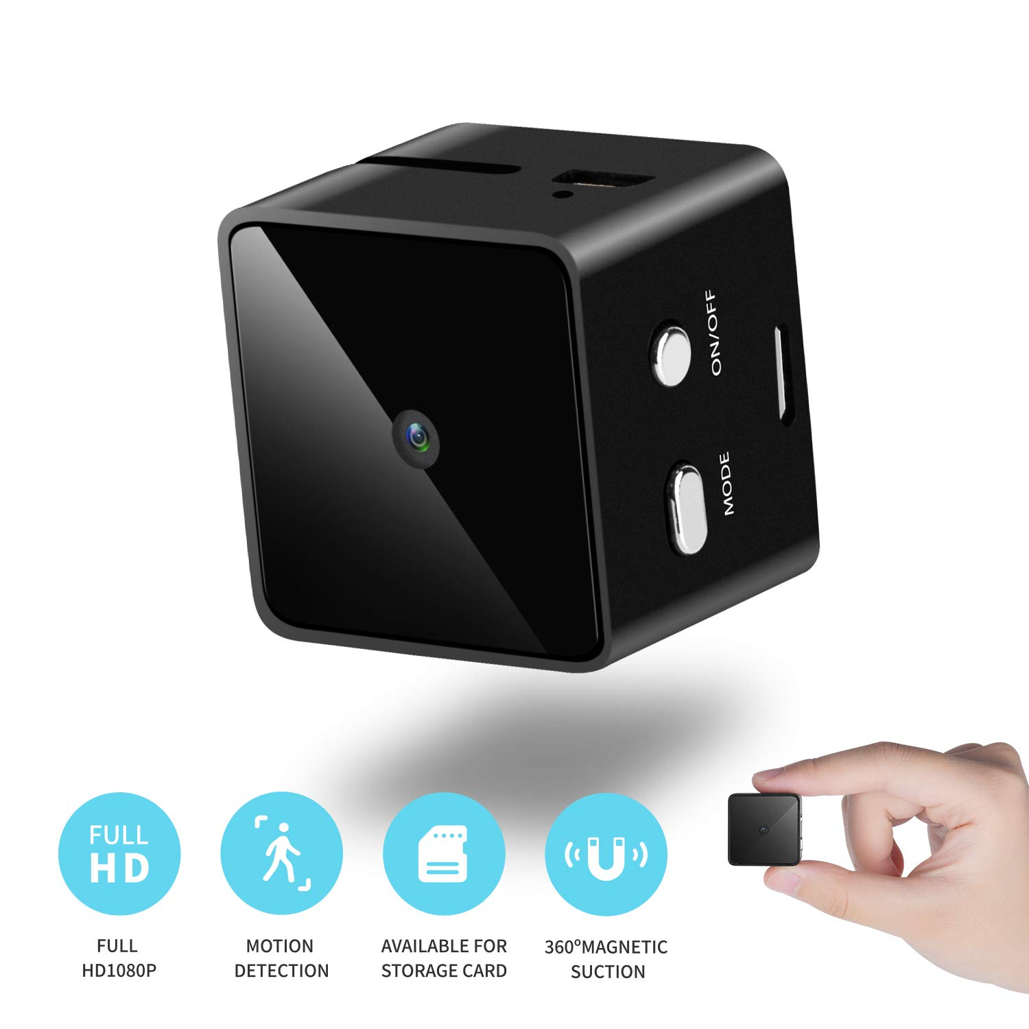 Mini Cube Spy Hidden Camera Full HD 1080P with Motion Detection, Metal Housing Magnetic Body Perfect Video Camera for Indoor/Outdoor Security Nanny Cam - No Wi-Fi Needed - 16G SD Card Included (Black) by Ice Walker