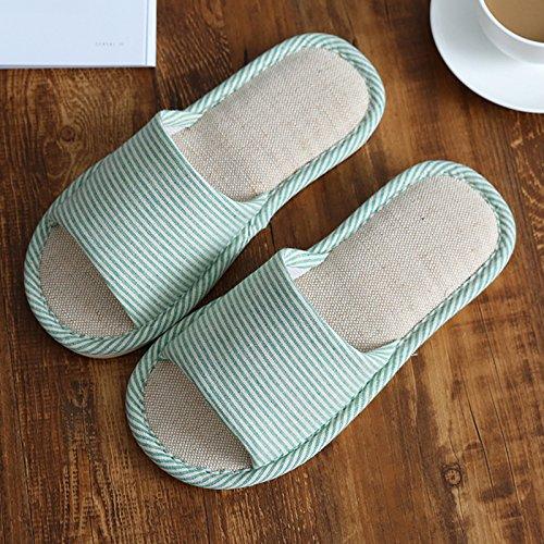 DogHaccd Zapatillas,Las sandalias de verano fresco, confortable ropa de cama de algodón sudor quedarse en casa un par de gruesos, suelo antideslizante cool zapatillas macho El verde3