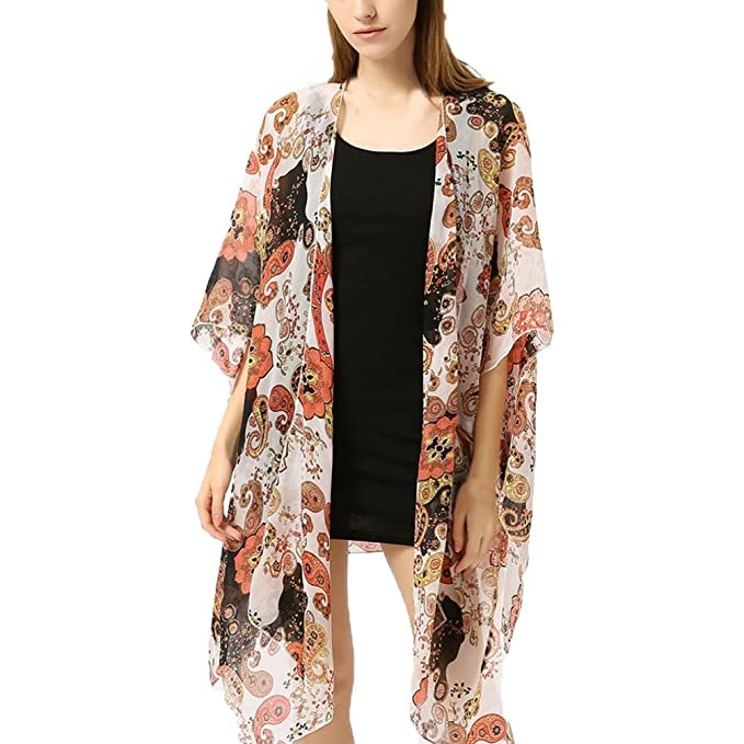 Damen Bikini Cover Up Vertuschen Strand Kimono Cardigan Boho Bademode Badeanzug