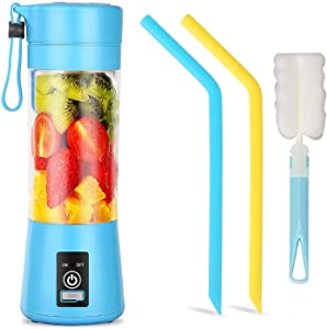 Portable Blender, Personal Size Blender USB Rechargeable with 6 Blades for Juice Crushed Ice Smoothies and Shakes, Mini Blender with 13oz Jucie Cup for Sports,Travel,Gym,home and Outdoors