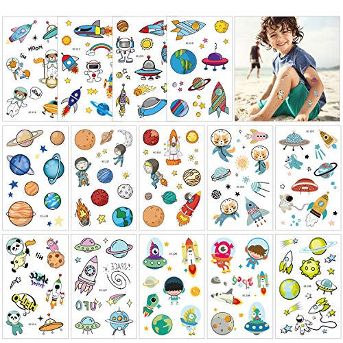 Outer Space Animal Party Favors Tattoos Temporary for Kids - Solar System Astronaut Planets Rocket Baby Shower/Birthday Party Supplies Decorations (14 Sheets)]()