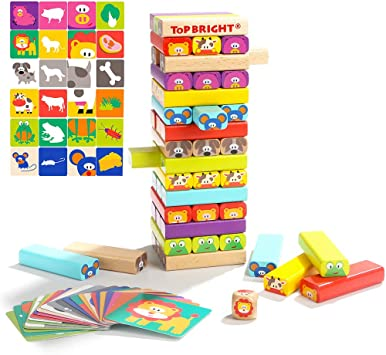 kabinga 51 Piezas de Bloques de construcción Coloridos Juegos de Mesa Apilados, Juguetes educativos de Madera de ladrillo Alto para niños de 4 a 8 años, Unisex-Baby, Small: Amazon.es: Juguetes y juegos