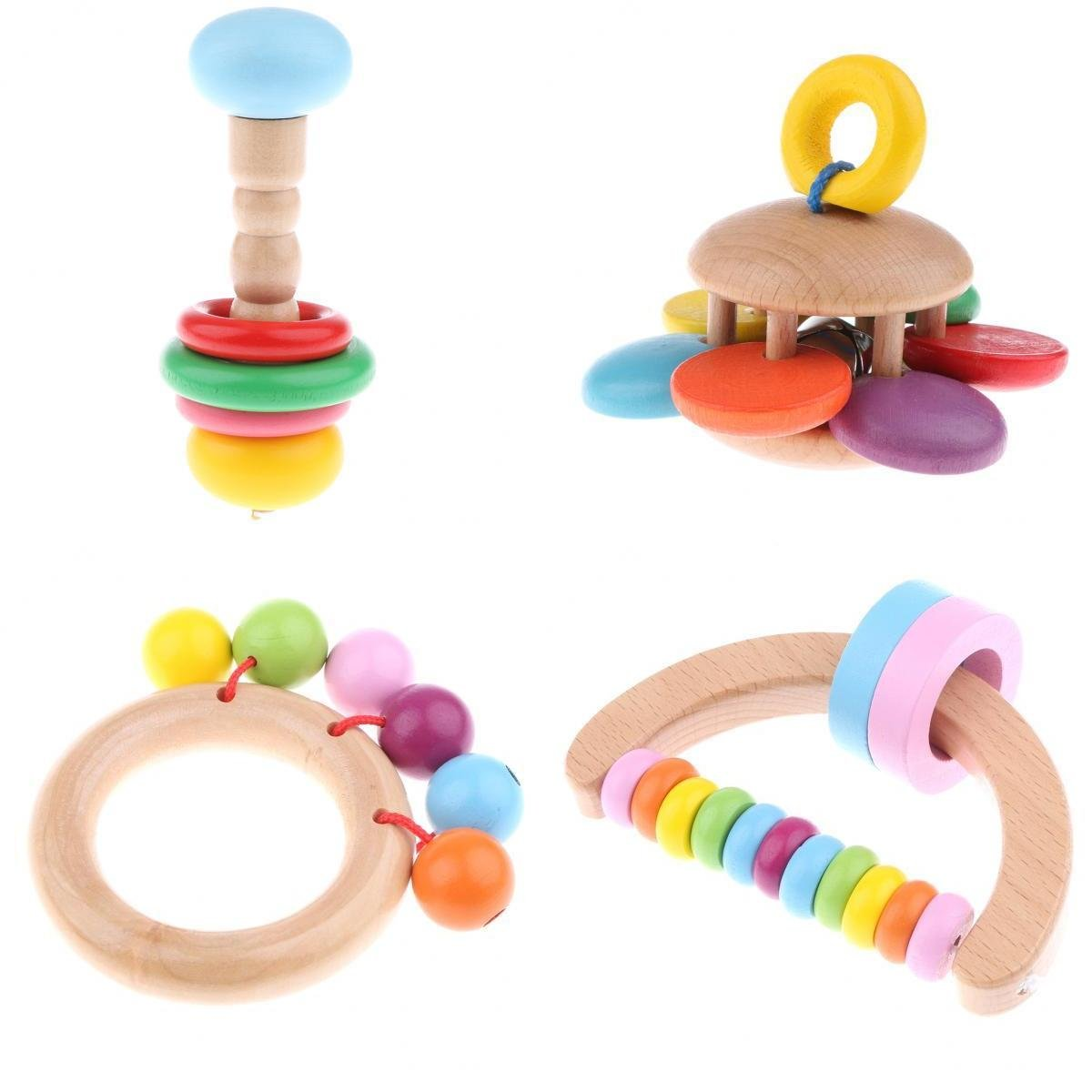 Homyl Pack Of 4 Wood Montessori Styled Baby Rattles Grasping Toy for Baby Toddlers