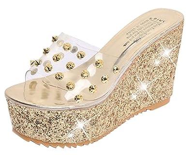 D.S.mor Women Rhinestone Beach Sparkly Sandals Wedge Sandals 6276faefb