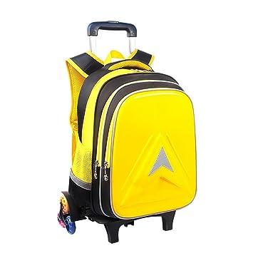HCC& Portátil Mochilas con Ruedas, Impermeable Luminoso Rolling School Bag Desmontable Subiendo Escaleras Mochila para