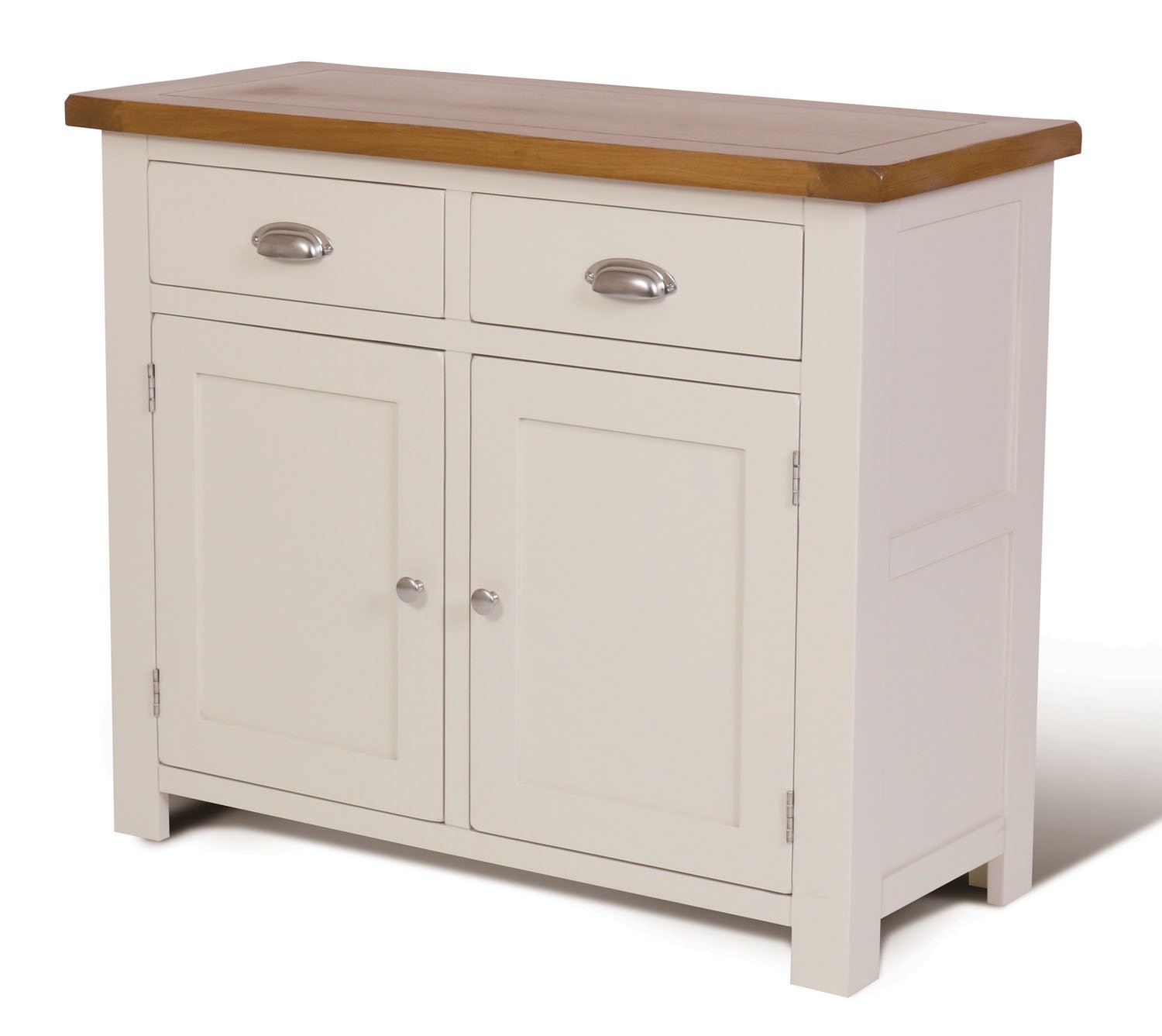 Ascot Oak 2 Door Drawer Small Sideboard And Stone White Painted Finish