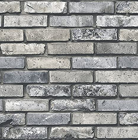 Gray Tapety Tapety i akcesoria Brewster Wallcovering Co FD23288 Painted Brick Grey Brick Wallpaper