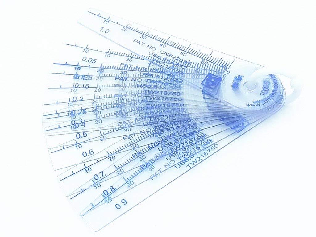 sourcingmap/® 0.05-1mm Thickness Plastic Feeler Gauge Gap Filler Measuring Tool 13 in 1