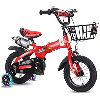 no logo NIAN Kids Bike Boys Girls Freestyle Bicycle with Training Wheels Kickstand Child's Street Dirt Bike Bicycle Child Tricycle high Carbon Steel Frame with Basket Student Bicycle Portable: Home & Kitchen