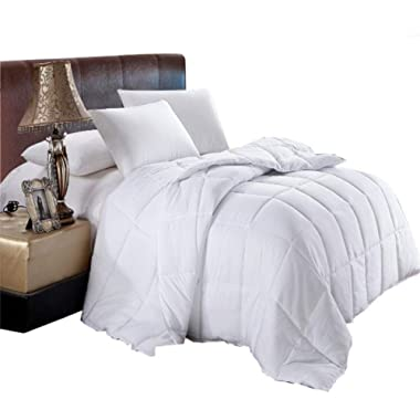 Royal Hotel Soft, Light, Warm Down Comforter, 650 Fill Power, 100% Cotton Cover/Shell, 300 Threadcount, Solid White, Full/Queen