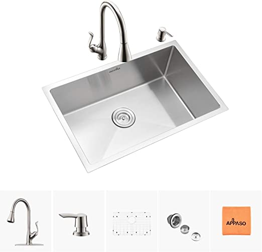 APPASO 28 Inch Single Bowl Kitchen Sink and Faucet Combo Set, Stainless  Steel Kitchen Sink Undermount and Pull Down Sprayer Kitchen Faucet kit
