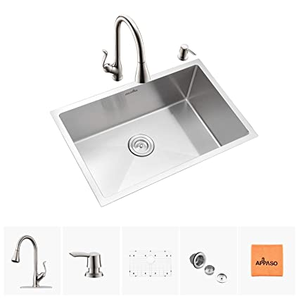 APPASO 28 Inch Single Bowl Kitchen Sink & Faucet Combo Set, Stainless Steel  Kitchen Sink Undermount and Pull Down Sprayer Kitchen Faucet kit