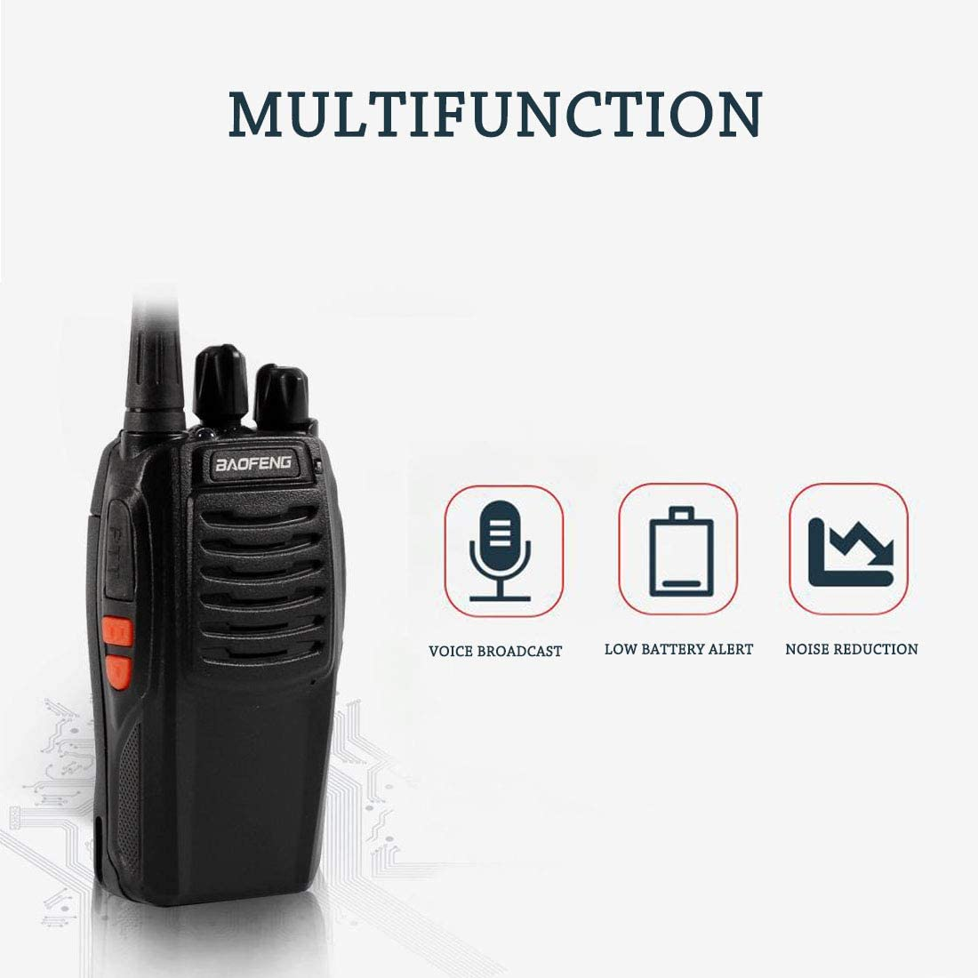 Long Range Walkie Talkie BF-88e 2 Way Radio with Rechargeable Li-ion Battery and Earpieces 8 pack Updated Version