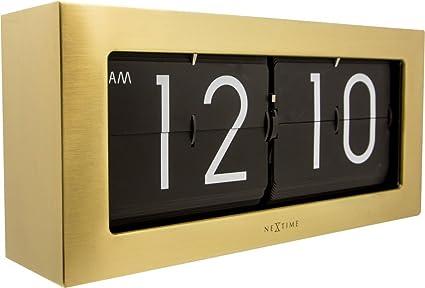 Nextime Reloj de Pared/Mesa Retro Big Flip, Reloj Giratorio, Metal, Dorado