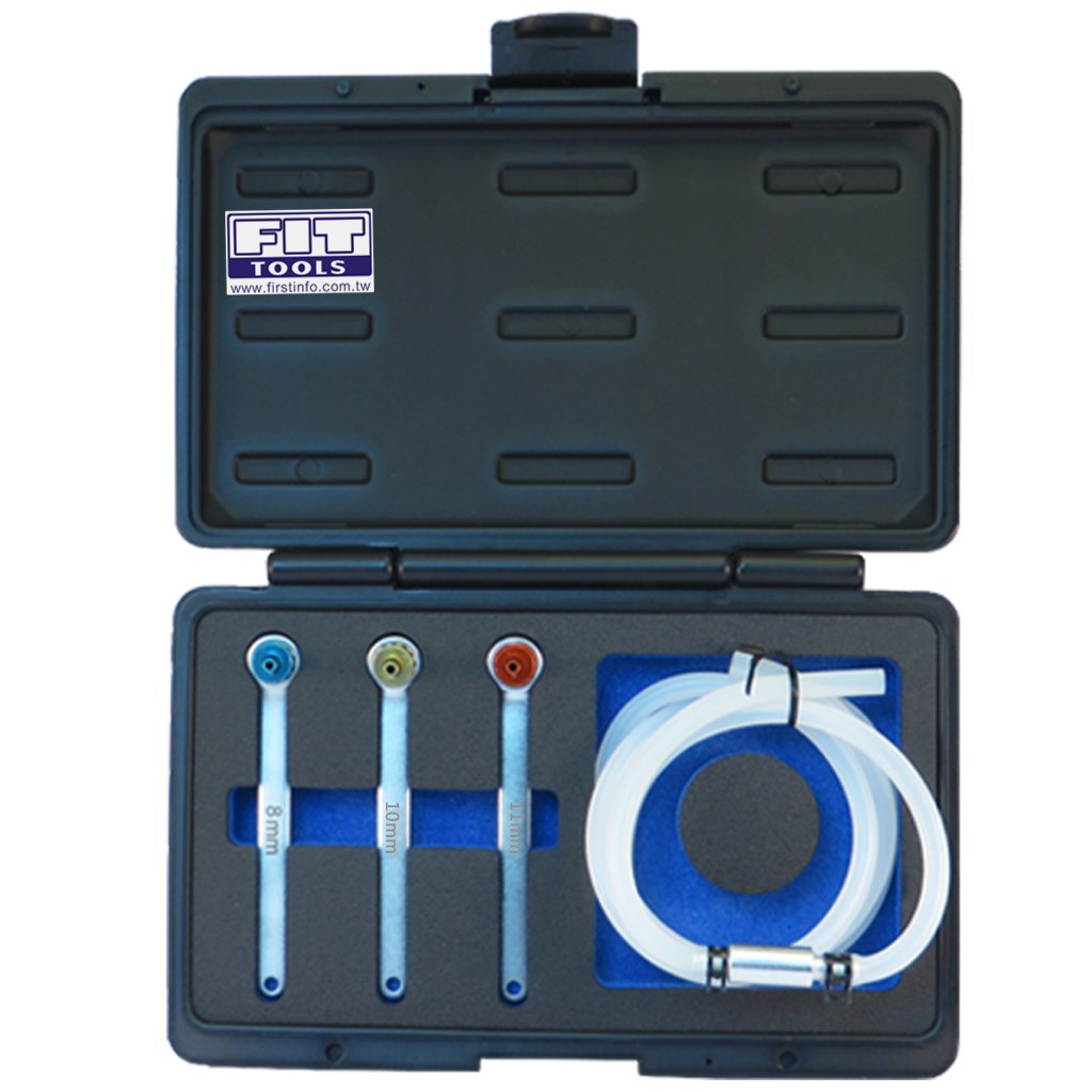 FIRSTINFO Made in Taiwan Mini 8, 10, 12mm Brake Fluid Clutch Bleeder Hose with 12 Point Wrench and Check Valve by FIRSTINFO (Image #2)