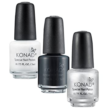 KONAD 3 x 5 ml Special Nail Polishes - Black, Silver and White