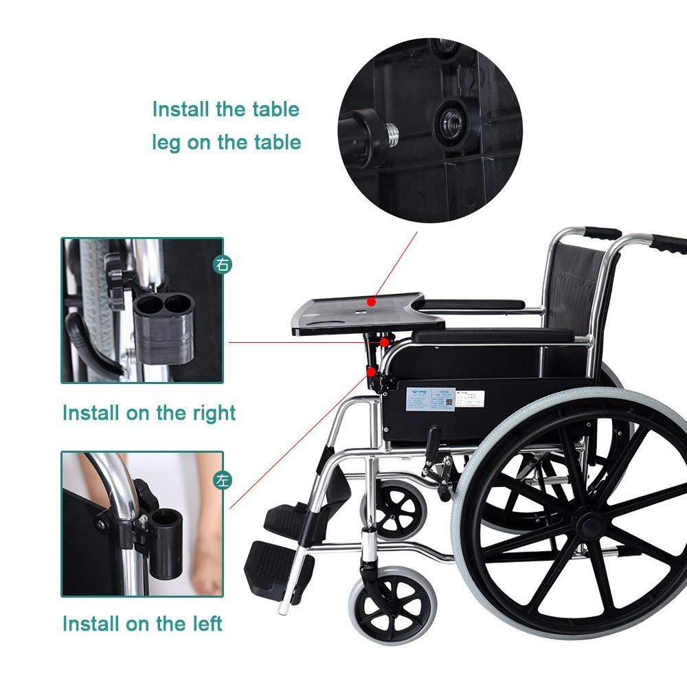 Amazon.com: Wheelchair Tray Table With Cup Holder Medical Portable Knee Tray Accessory Child Chair Tray Desk For Eating Snack, Reading: Home & Kitchen