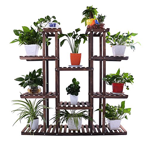 Cheap  Ufine 9 Tiers Large Carbonized Wood Patio Garden Plant Stand Multiple Usage..
