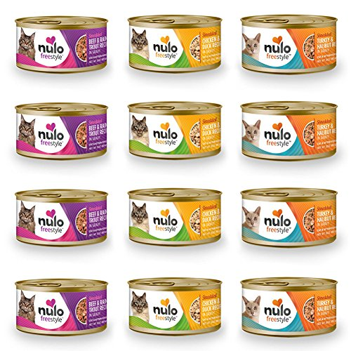 Cedar Crate Market Nulo FreeStyle Shredded Canned Wet Cat Food Variety Bundle - 3 oz. - 2 Flavors - Chicken & Duck and Beef & Rainbow Trout (12 Cans Total)