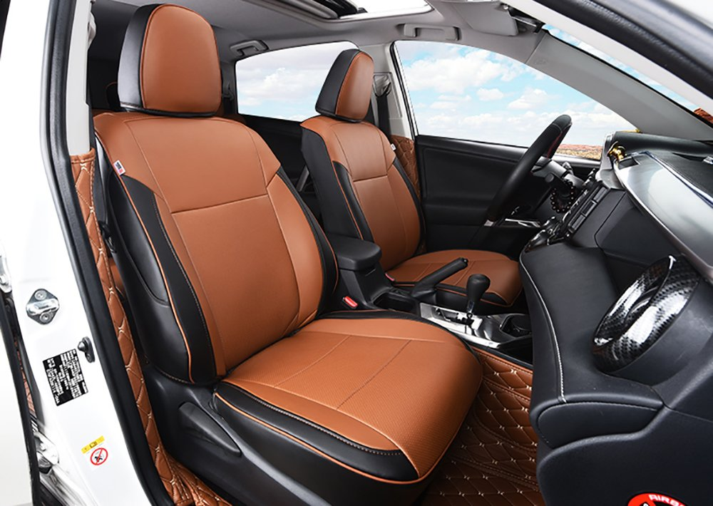 Kust rzd3192r Car seat Covers Custom Fit Seat Covers Fit for Toyota RAV4 2013 2014 2015 2016 2017 2018,Leather Auto Seat Covers for SUV Full Set 4pcs Saddle Cover,4pcs Back Cover,5pcs Headrest Cover