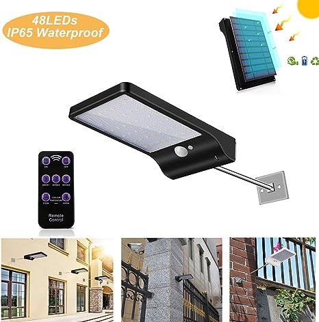48 LED IP65 Fernbedienung solarleuchte PIR Bewegungsmelder Außenwandleuchte