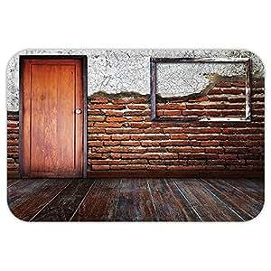 kisscase Custom puerta matantique Decor marco de fotos sala de poner en un muro de ladrillo Dañado En Años Viejo rústico de madera suelo Decor