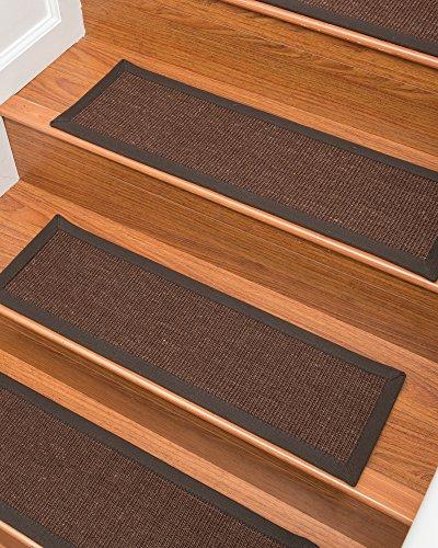(NaturalAreaRugs 100% Natural Fiber Grayton, Wool/Sisal Brown, Handmade Stair Treads Carpet Set of 13 (9