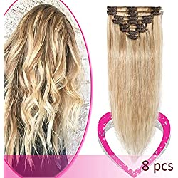 Remy Clip in Hair Extensions 100% Human Hair 18 Inch 70g Standard Weft 8 Pcs 18 Clips Straight Hair for Women Beauty Gift Balayage #18/613 Ash Blonde Mix Bleach Blonde