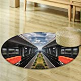 Small round rug Carpet Logistics vehicle high speed Logistics door mat indoors Bathroom Mats Non Slip -Round 31''