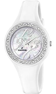 Calypso K5567/1 - Reloj analógico de mujer de cuarzo con correa de plástico blanca