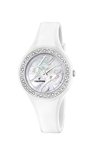 Calypso K5567/1 - Reloj analógico de mujer de cuarzo con correa de plástico blanca - sumergible a 100 metros: CALYPSO: Amazon.es: Relojes