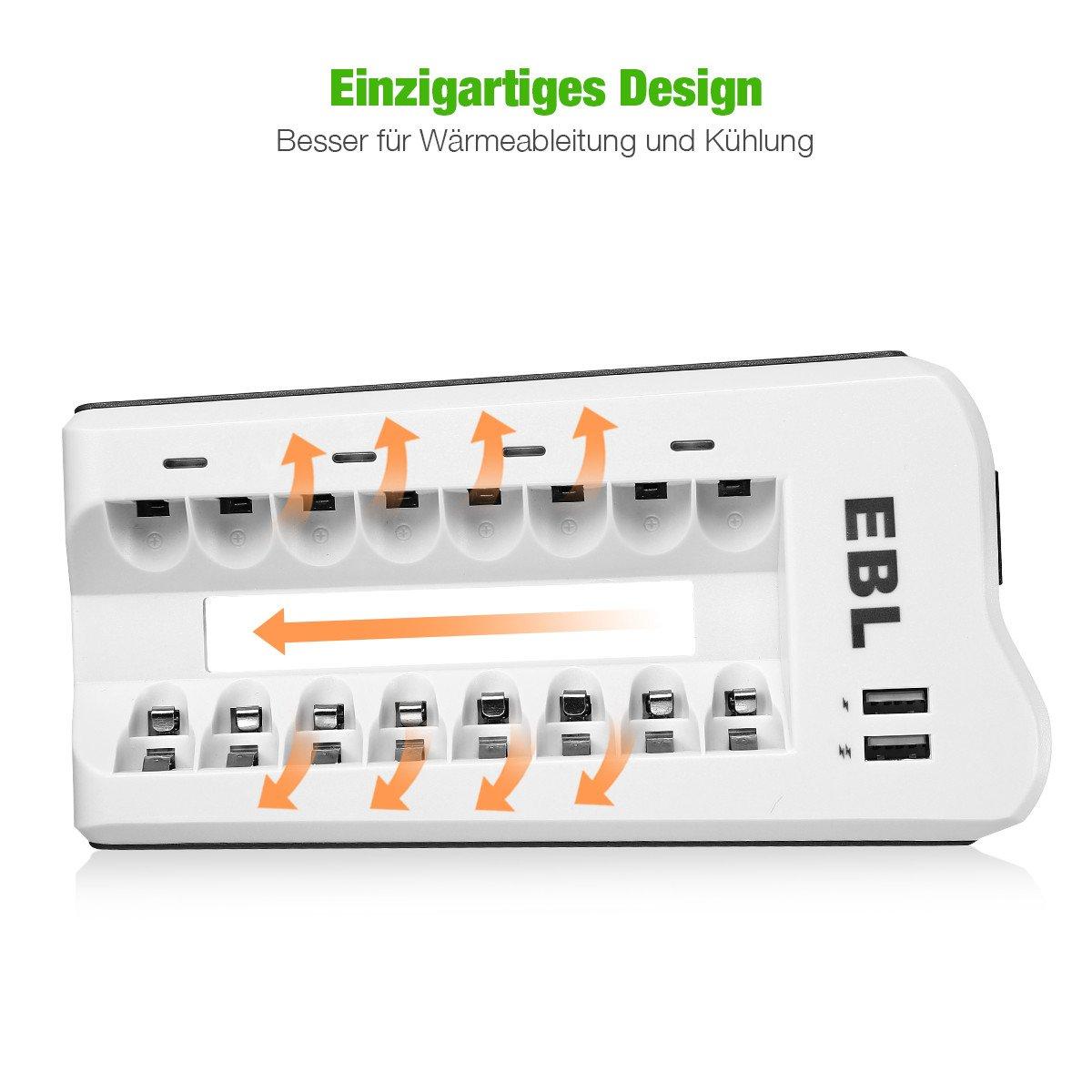 EBL Akkuladegerät 8 Stecker mit 2 USB Port für AA AAA NI-MH Akku inkl. 4*AA und 4*AAA Akku