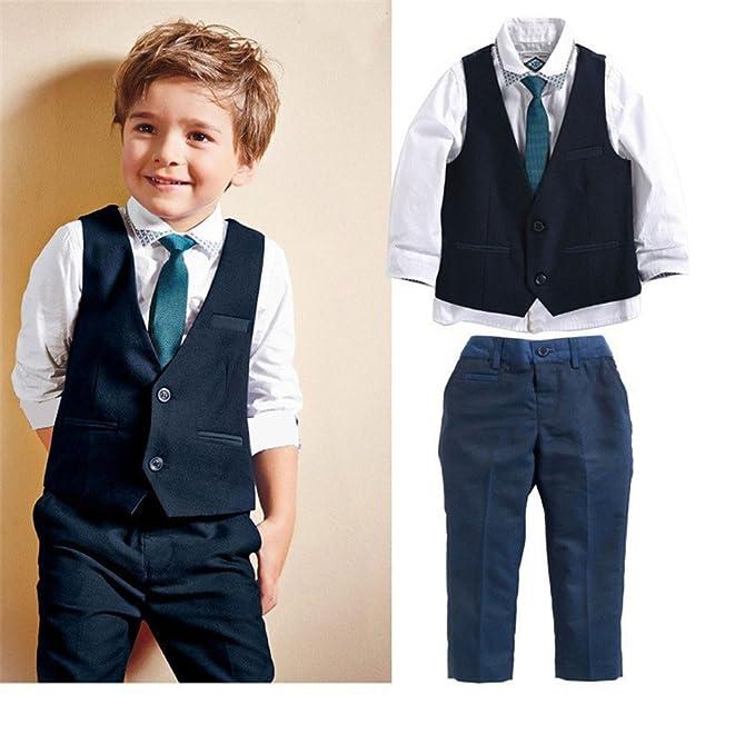 Amazon.com: VIMIKID Boys Formal Dresswear 3 Pieces Vest Set Suit ...