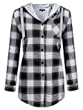 OMEYA.WANSHIDA.Womens Long Sleeve Button up Plaid Flannel Hooded Jacket Shirt(L, Grey)