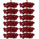 144pcs Artificial Paper Rose Flower Buds Mini Bouquet Party Decor- Red