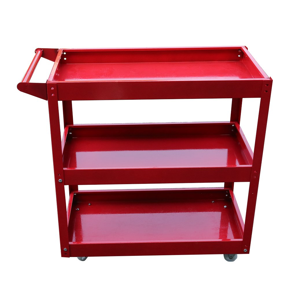 Belovedkai Tool Cart, Service Utility Cart 3 Tray Steel Box 450 lbs Capacity, Red