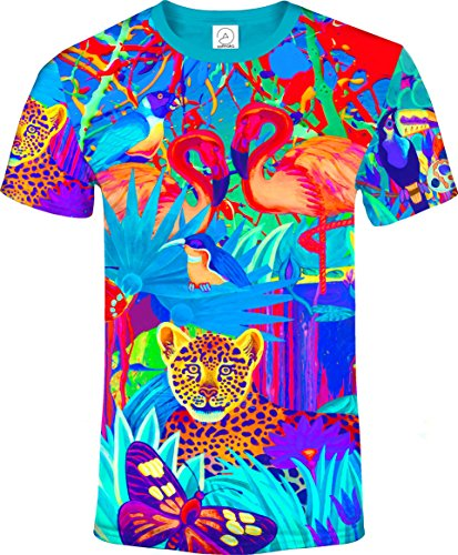 aofmoka All Over 3D Tropical Lion Butterfly Bird Animal Floral Blacklight UV Neon Glow Fluorescent T-Shirt Men, Size (Jungle Bird)