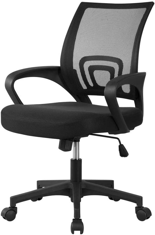 Yaheetech Office Chair Ergonomic Desk Chair Mid-Back Big Computer Chair Mesh Swivel Chair with Lumbar Support