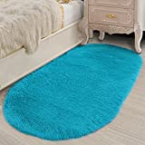 Lee D.Martin Ultra Soft Children Rugs Living Room Bedroom Oval Carpets Modern Shaggy Area Rugs Anti-Slip Backed Home Décor Rug,2.6' X 5.3',Blue