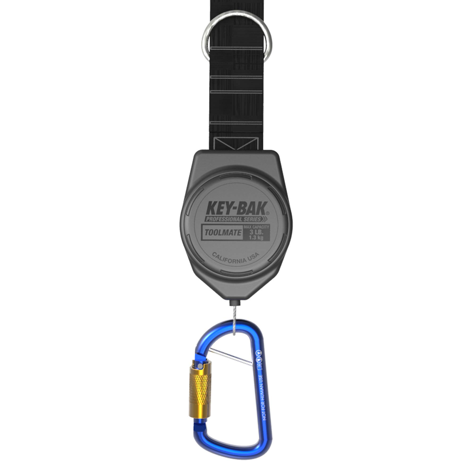 KEY-BAK Toolmate Rewinding Tool Lanyard, 3 lb. Drop Capacity, 6 oz. Retraction, Safety Tell-Tale, Locking Swivel Carabiner, Stainless Steel Coated Cable